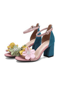 2018 spring  European luxury, flower deco 6.5cm heel sandle  of leather shoes.  소가죽 & 입체꽃 힐 센들♥ 봄 /여름 슈즈 폭풍할인! 소량~서두르세요^^ (220-245mm)